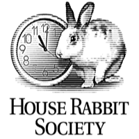 House Rabbit Society logo  image of rabbit with clock